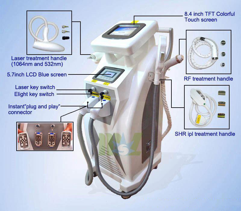 New generation & Stable quality MSLOL01 4 in 1 OPT Elight ipl hair removal machine